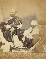 Rajput men playing the game of Puchesee. 4361